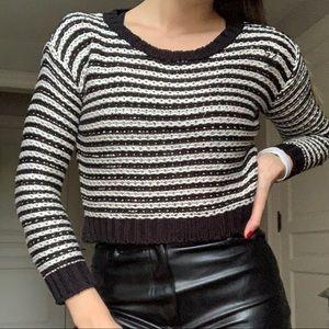 Black & White Striped Cropped Sweater